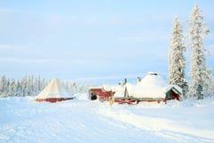 Paisaje del invierno de la salida del sol Imágenes de archivo libres de regalías
