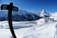 Paisaje del invierno de Matterhorn fotografía de archivo