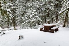 Paisaje del invierno de una área de picnic nevada con el banco Fotos de archivo libres de regalías