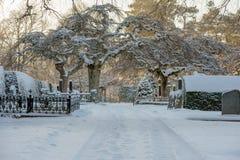 Paisaje del invierno del cementerio Imagenes de archivo