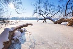 Paisaje del invierno del lago congelado Fotos de archivo libres de regalías
