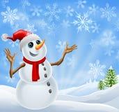 Paisaje del invierno del muñeco de nieve de la Navidad Fotografía de archivo
