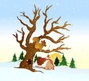 Paisaje del invierno del pueblo. Ejemplo del vector stock de ilustración