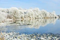 Paisaje del invierno del Riverbank imagenes de archivo