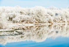 Paisaje del invierno del Riverbank foto de archivo libre de regalías