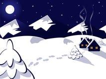 Paisaje del invierno del vector Fotos de archivo
