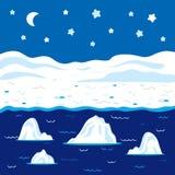 Paisaje del invierno del vector, noche polar Foto de archivo