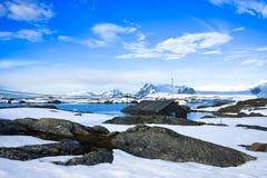 Paisaje del invierno en Ant3artida Foto de archivo