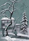 Paisaje del invierno en crepúsculo Fotos de archivo libres de regalías