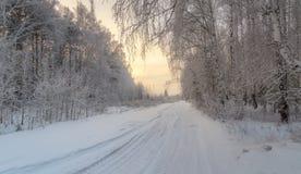 Paisaje del invierno en el bosque con el camino en la puesta del sol, Rusia, Ural Foto de archivo