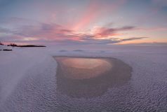 Paisaje del invierno en el lago Chudskoy Fotos de archivo libres de regalías
