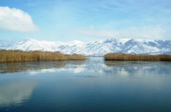 Paisaje del invierno en el lago Prespa Imagen de archivo