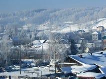 Paisaje del invierno en el pueblo cerca del bosque Foto de archivo