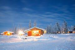 Paisaje del invierno en la noche Imagenes de archivo