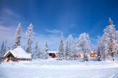 Paisaje del invierno en la noche Imagen de archivo libre de regalías