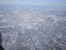 Paisaje del invierno en la zona de influencia rusa con una vista panorámica fotografía de archivo