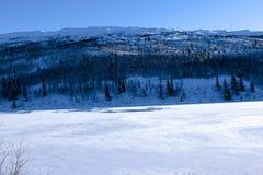 Paisaje del invierno en Noruega Fotografía de archivo