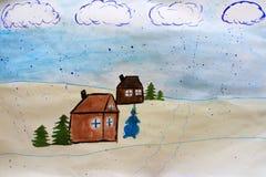 Paisaje del invierno en pueblo Ilustraciones infantiles sobre invierno Días de fiesta del Año Nuevo fotografía de archivo libre de regalías
