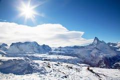 Paisaje del invierno en Suiza Imágenes de archivo libres de regalías