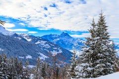 Paisaje del invierno en Suiza Foto de archivo