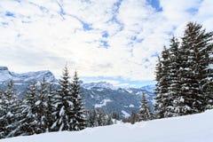 Paisaje del invierno en Suiza fotos de archivo libres de regalías