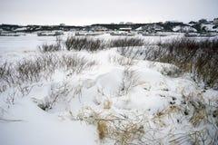 Paisaje del invierno en una cuenca de río fotos de archivo libres de regalías