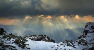 Paisaje del invierno encima de la montaña Imagen de archivo libre de regalías