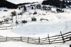 Paisaje del invierno Escena hermosa del invierno en rumano Cárpatos Fotos de archivo libres de regalías