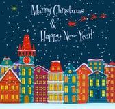 Paisaje del invierno Fondo de los holydays de la Navidad con las casas del cuento de hadas Tarjeta de la Feliz Navidad Pequeña ci ilustración del vector