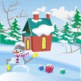 Paisaje del invierno Muñeco de nieve divertido con los regalos stock de ilustración