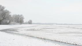 Paisaje del invierno Nevado en Havelland Brandeburgo, Alemania Lago Guelper almacen de video