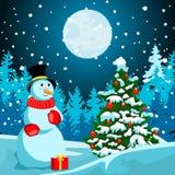 Paisaje del invierno Noche de la Navidad Año Nuevo s Eve ilustración del vector