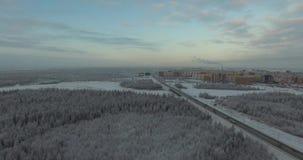Paisaje del invierno Opinión aérea de la naturaleza Mosca encima almacen de video