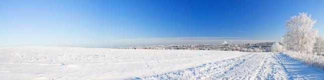 Paisaje del invierno, panorama Imagen de archivo libre de regalías