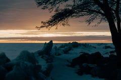 Paisaje del invierno - puesta del sol Imagen de archivo