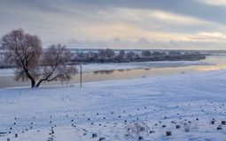 Paisaje del invierno del río Dnepr fotografía de archivo