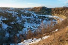 Paisaje del invierno, una mina en una ciudad de Livny Foto de archivo libre de regalías