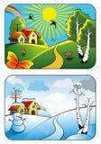 Paisaje del invierno y del verano Fotos de archivo libres de regalías