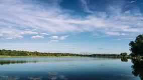 Paisaje del lago del bosque de la naturaleza del verano, time lapse