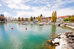 Paisaje del lago Ginebra, Lausanne, Suiza 2 Foto de archivo libre de regalías
