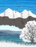 Paisaje del lago y de la montaña stock de ilustración