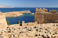 Paisaje del mar con Akropol viejo Fotos de archivo