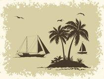 Paisaje del mar con las siluetas de las palmas y de las naves Imágenes de archivo libres de regalías
