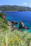Paisaje del mar de Corfú foto de archivo