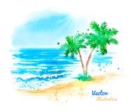 Paisaje del mar de la acuarela ilustración del vector