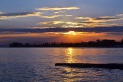 Paisaje del mar de la puesta del sol en Eretria Euboea Grecia Imagen de archivo