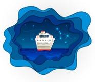 Paisaje del mar en estilo de papel cortado Imagen de archivo libre de regalías