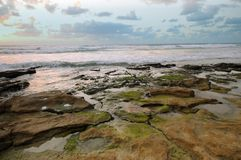 Paisaje del mar, puesta del sol Imagenes de archivo