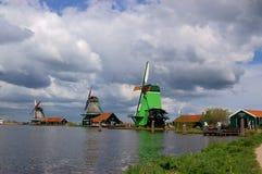 Paisaje del molino de viento de Holanda Fotografía de archivo libre de regalías