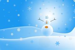 Paisaje del muñeco de nieve Foto de archivo libre de regalías
